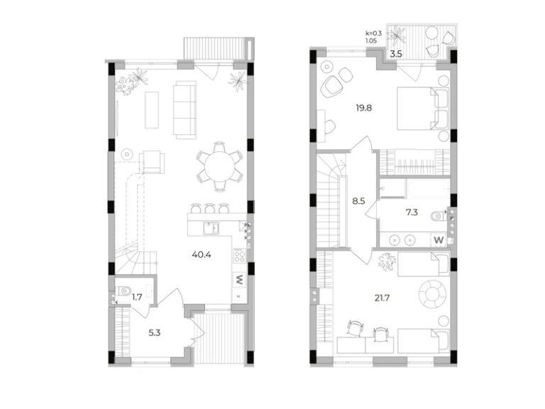 2-кімнатний таунхаус 112,4 кв.м
