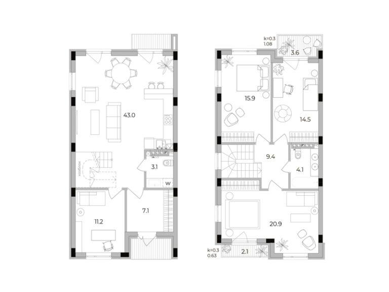 3-кімнатний таунхаус 129,2 кв.м
