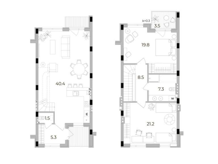 2-кімнатний таунхаус 104 кв.м
