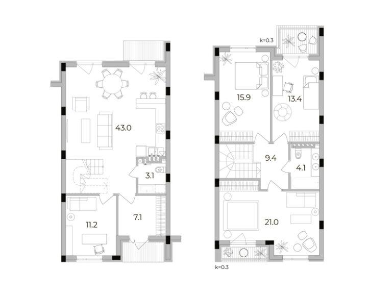 3-кімнатний таунхаус 128,3 кв.м